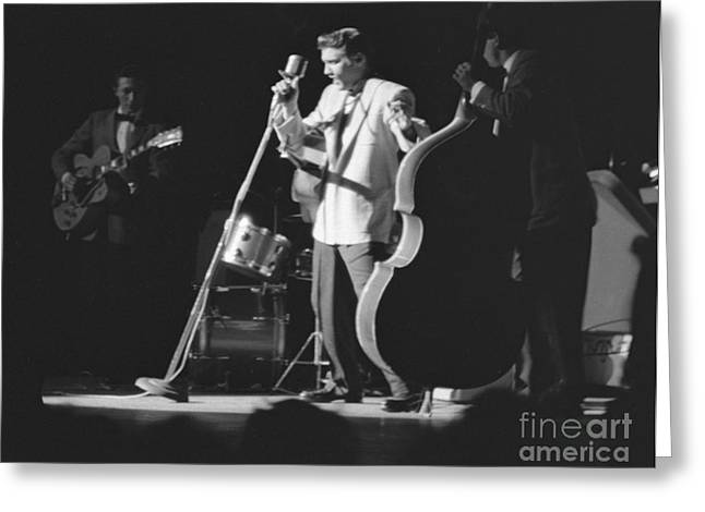 Black Moore Greeting Cards - Elvis Presley with Scotty Moore and Bill Black 1956 Greeting Card by The Phillip Harrington Collection