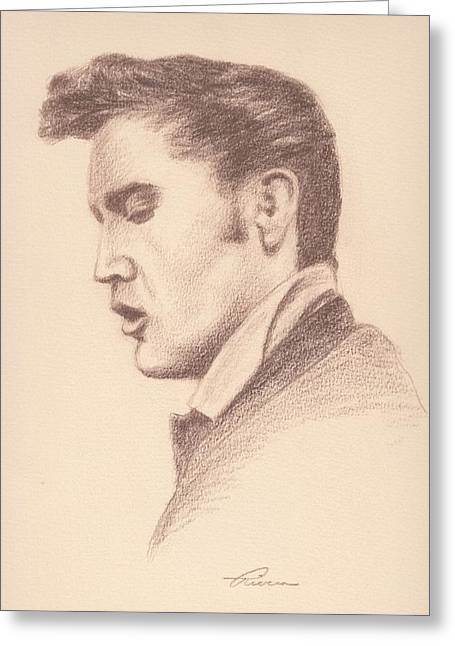 Las Vegas Drawings Greeting Cards - Elvis Greeting Card by Reggie Rivera