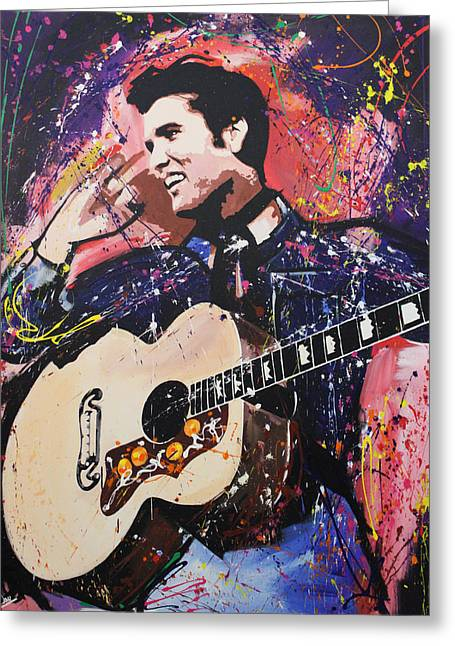 Recently Sold -  - Live Art Greeting Cards - Elvis Presley Greeting Card by Richard Day