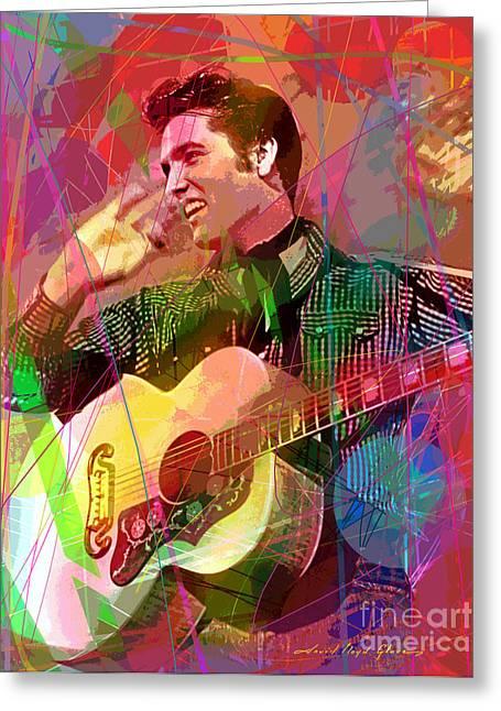 Recording Greeting Cards - Elvis Rockabilly  Greeting Card by David Lloyd Glover