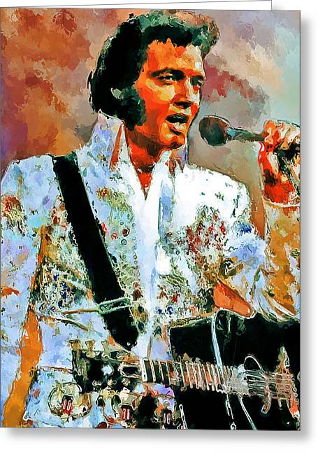 Enjoying Greeting Cards - Elvis Singing 2 Greeting Card by Yury Malkov