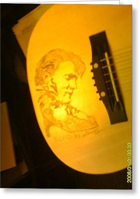 Sketch Pyrography Greeting Cards - Elvis sketch on acoustic guitar No.1 Greeting Card by Timothy Wilkerson