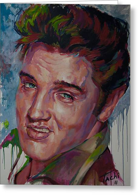 Icons Prints On Canvas Greeting Cards - Elvis Greeting Card by Tachi Pintor