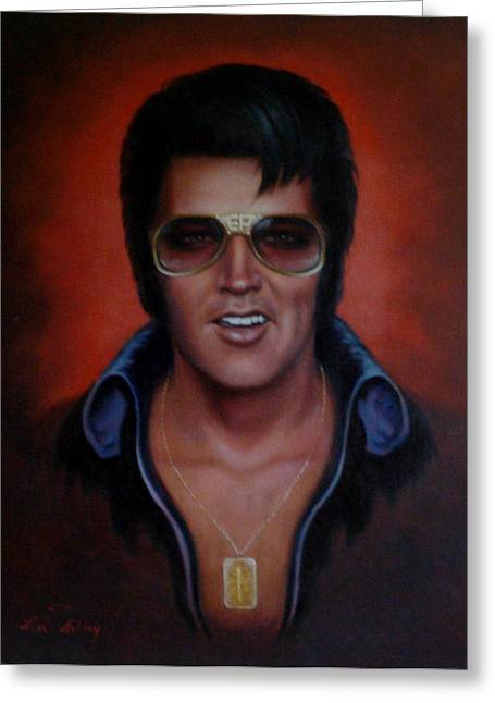 Gold Necklace Paintings Greeting Cards - Elvis TCB Greeting Card by Loxi Sibley