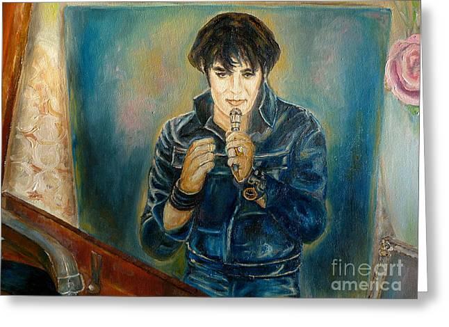 Heartbreak Hotel Greeting Cards - Elvis The Comeback Concert Greeting Card by Carole Spandau