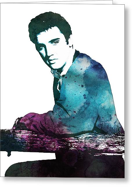 Elvis Presley Drawing Greeting Cards - Elvis the king Greeting Card by Celestial Images