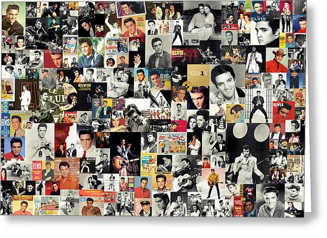 Mosaic Mixed Media Greeting Cards - Elvis The King Greeting Card by Taylan Soyturk