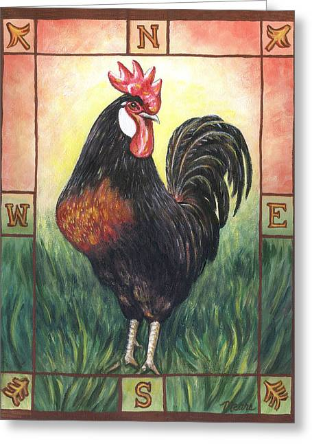 Roosters Greeting Cards - Elvis the Rooster Greeting Card by Linda Mears