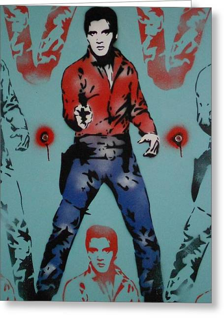 Elvis Stencil Greeting Cards - Elvis Warhol stencil painting Greeting Card by Leon Keay