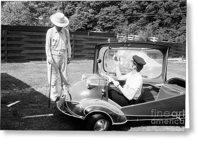 Memphis Tennessee Greeting Cards - Elvis with his Messerschmitt Microcar 1956 Greeting Card by The Phillip Harrington Collection