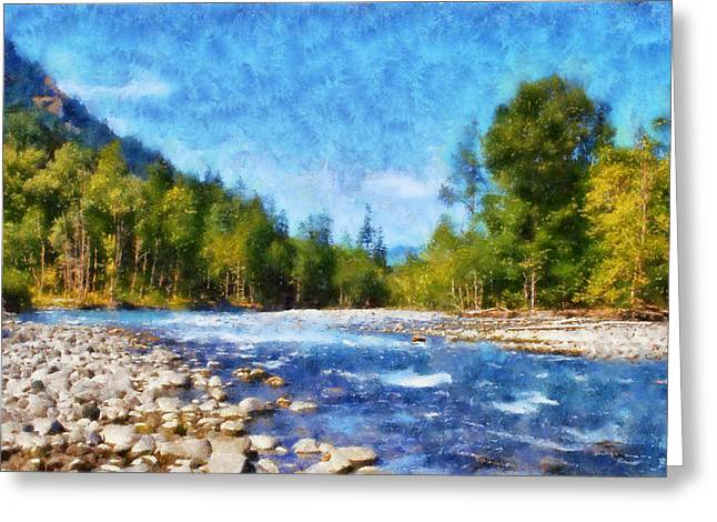 Impressionist Greeting Cards - Elwha River Greeting Card by Kaylee Mason