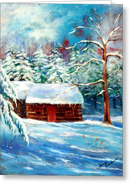 Log Cabins Pastels Greeting Cards - Elwoods Cabin Greeting Card by Jane Baribeau