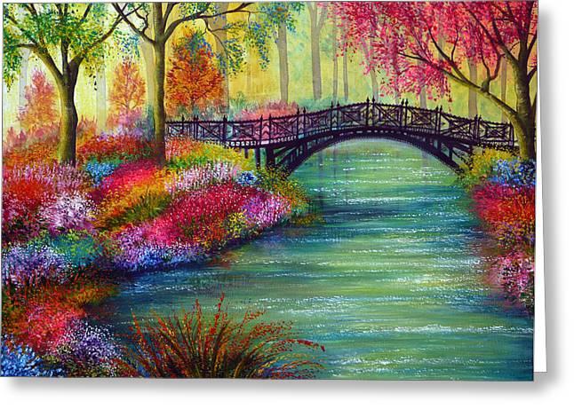 Kinkade Greeting Cards - Elysian Bridge Greeting Card by Ann Marie Bone