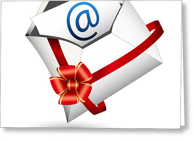 Delivering Presents Greeting Cards - Email Gift Icon Greeting Card by John Takai