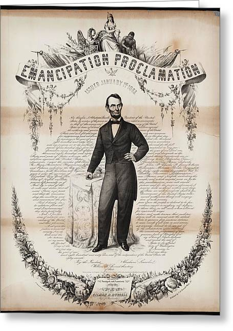 White Frame House Drawings Greeting Cards - Emancipation proclamation Greeting Card by Celestial Images