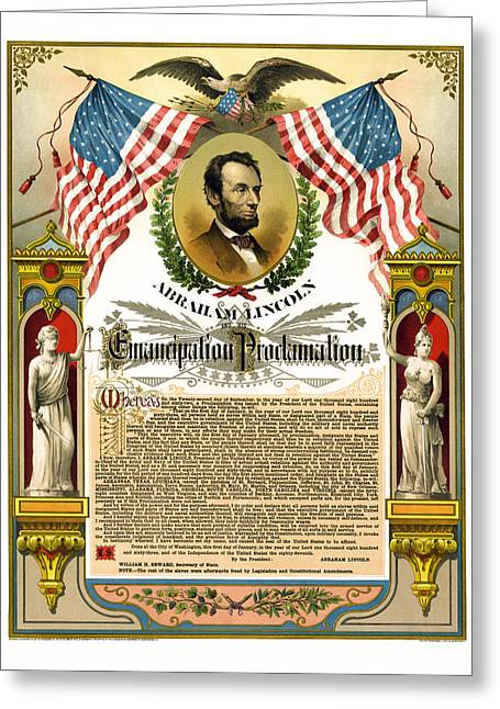 Slavery Greeting Cards - Emancipation Proclamation Tribute 1888 Greeting Card by Daniel Hagerman