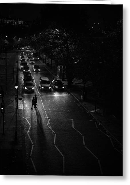 Night Lamp Greeting Cards - Embankment Greeting Card by Ebenette Photography