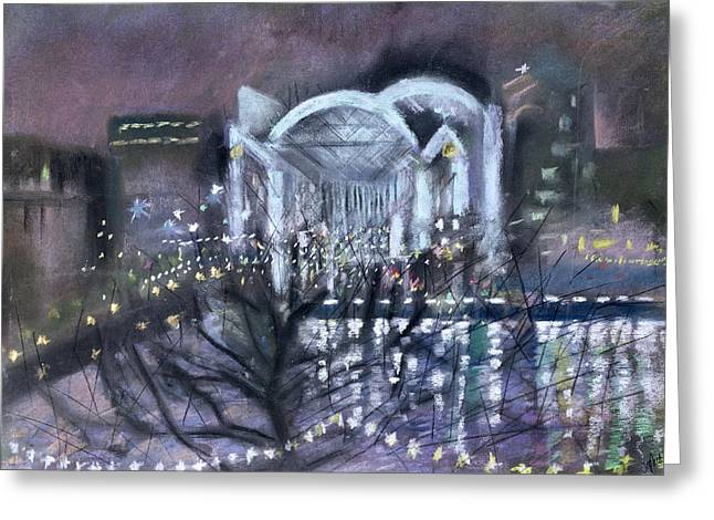 Winter Night Greeting Cards - Embankment Station, From The South Bank, 1995 Pastel On Paper Greeting Card by Sophia Elliot