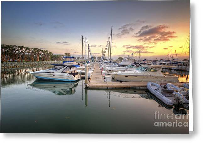 Sailboat Art Greeting Cards - Embarcadero Marina 3.0 Greeting Card by Yhun Suarez
