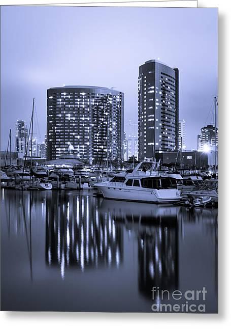 Western Usa Greeting Cards - Embarcadero Marina at Night in San Diego California Greeting Card by Paul Velgos