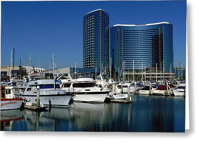 Docked Sailboat Greeting Cards - Embarcadero Marina Hotel, San Diego Greeting Card by Panoramic Images