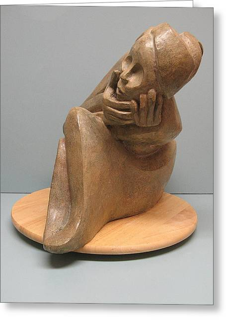 Person Sculptures Greeting Cards - Embarrassed Greeting Card by Nili Tochner