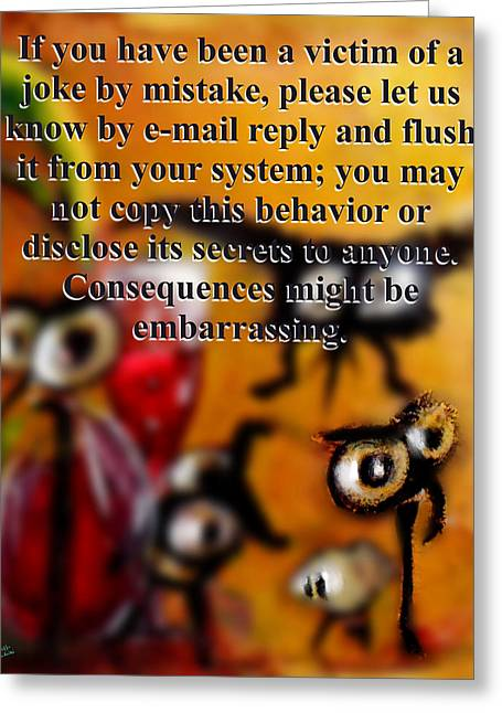 Beauty Mark Greeting Cards - Embarrassing consequences Greeting Card by Marcello Cicchini