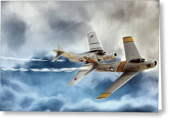 North American Aviation Greeting Cards - Embattled MIG Alley Greeting Card by Peter Chilelli