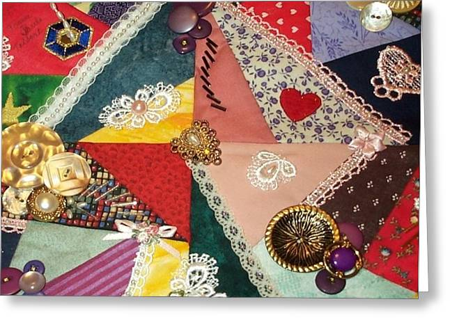Crazy Quilt Greeting Cards - Buttons and Beads and Baubles Oh My Greeting Card by Paula Talbert
