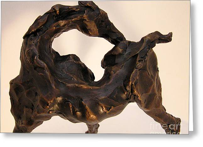 Animal Sculpture Sculptures Greeting Cards - Ember Gotta Itch Greeting Card by Valerie Freeman