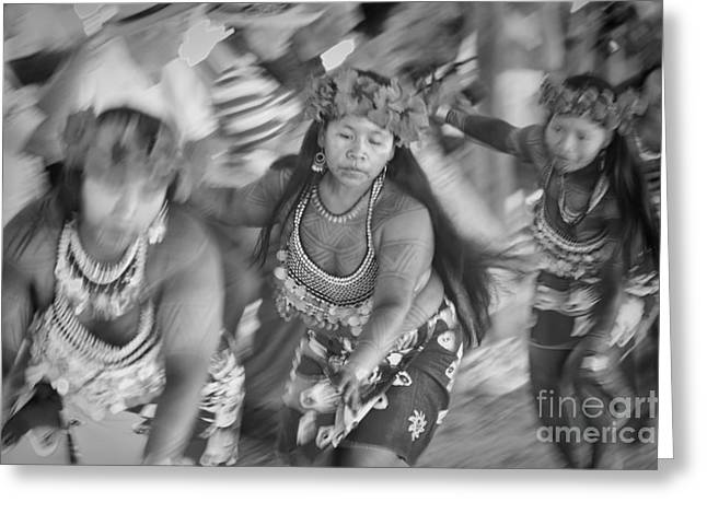Cruising Photographs Greeting Cards - Embera Villagers in Panama as black and white Greeting Card by David Smith