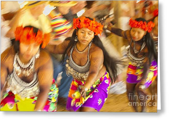 Tatoo Greeting Cards - Embera Villagers in Panama Greeting Card by David Smith