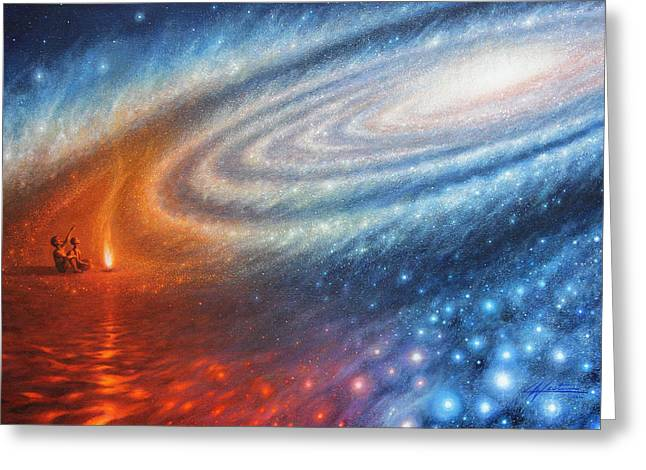 Ancestors Greeting Cards - Embers of Exploration and Enlightenment Greeting Card by Lucy West