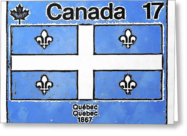 Philately Mixed Media Greeting Cards - Emblem du Quebec Greeting Card by Mario Carini
