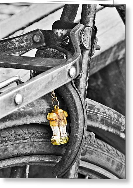 Keychain Greeting Cards - Emblem of India Greeting Card by Sonny Marcyan