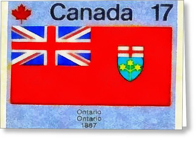 Philately Mixed Media Greeting Cards - Emblem of Ontario Greeting Card by Mario Carini