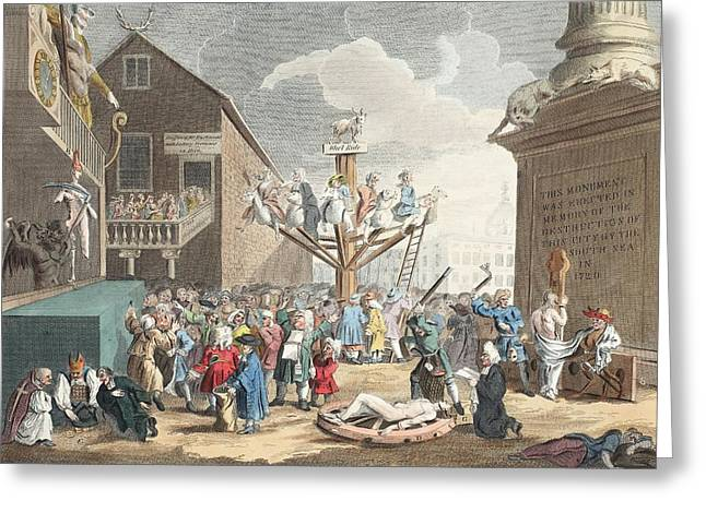 Scandal Greeting Cards - Emblematical Print Of The South Sea Greeting Card by William Hogarth