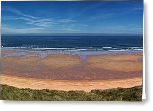 Sand Castles Greeting Cards - Embleton Bay Panorama Greeting Card by David Pringle