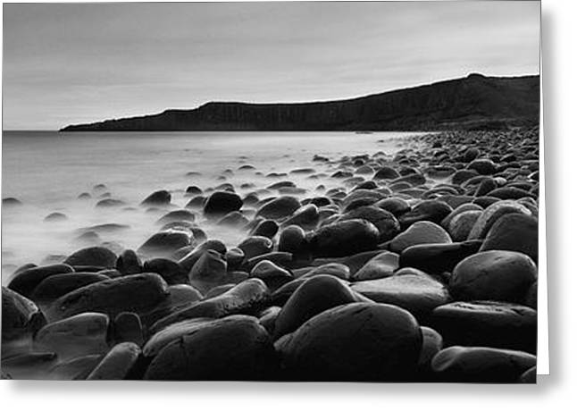 Surf Silhouette Greeting Cards - Embleton Bay With Dunstanburgh Castle Greeting Card by Ian Cumming