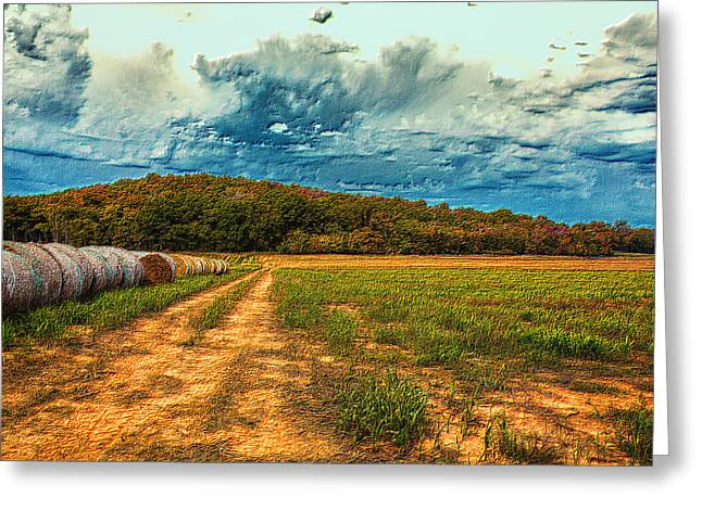 New Melle Greeting Cards - Embossed Autumn Field Greeting Card by Bill Tiepelman
