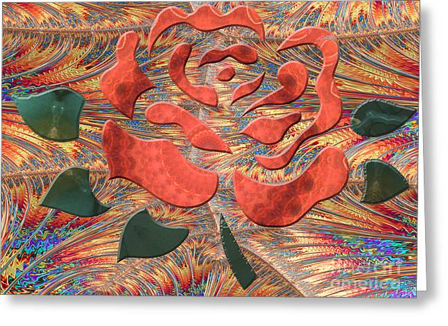 Cut-outs Greeting Cards - Embossed Rose Greeting Card by Linda Troski