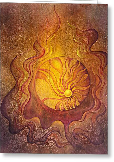 Spheres Paintings Greeting Cards - Embrace Greeting Card by Ellen Starr