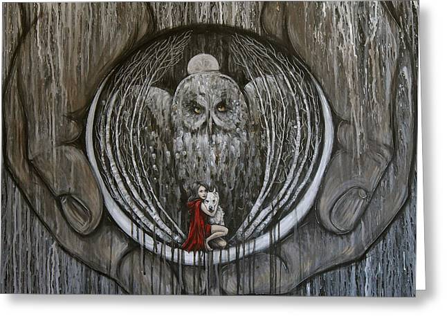 Woman And Owl Greeting Cards - Embrace Fear Greeting Card by Carrie Wachter