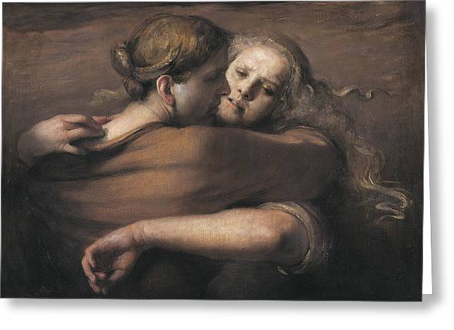 Spheres Greeting Cards - Embrace Greeting Card by Odd Nerdrum