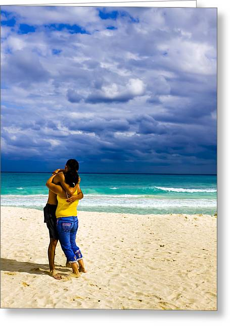 Latino Culture Greeting Cards - Embracing On A Beautiful Caribbean Beach Greeting Card by Mark Tisdale
