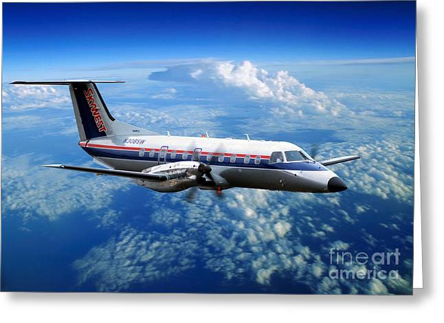 Best Sellers -  - Fixed Wing Multi Engine Greeting Cards - Embraer EMB-120ER Braslia SkyWest  Greeting Card by Wernher Krutein