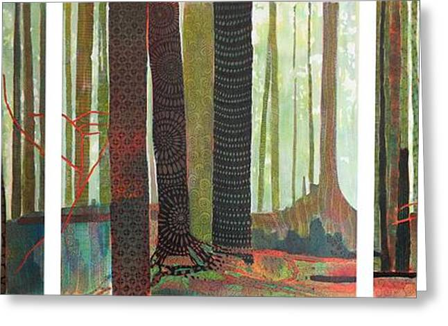 Lessons Greeting Cards - Embroidered Forest Greeting Card by Sandrine Pelissier