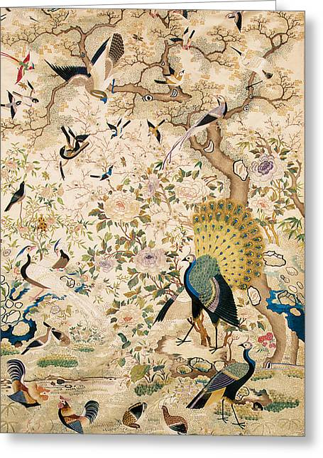 Pairs Tapestries - Textiles Greeting Cards - Embroidered panel with a pair of peacocks and numerous other birds Greeting Card by Chinese School