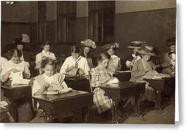 Embroidery Class, 1909 Greeting Card by Granger
