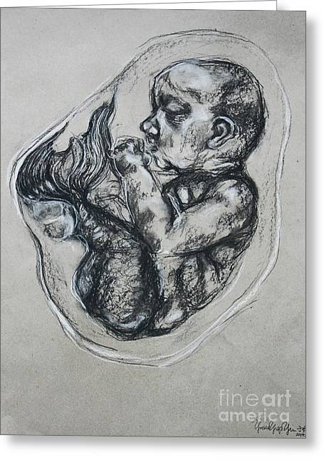 Embryo Drawings Greeting Cards - Embryo Greeting Card by Yvette Yu